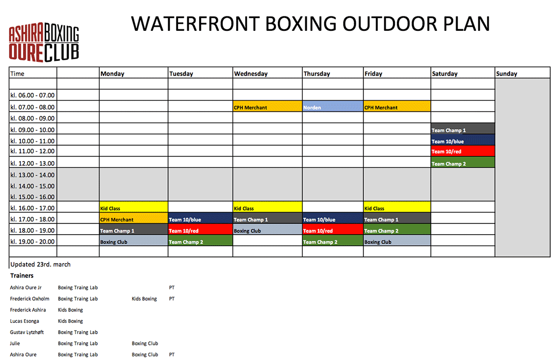 Waterfront Boxing Outdoor Plan